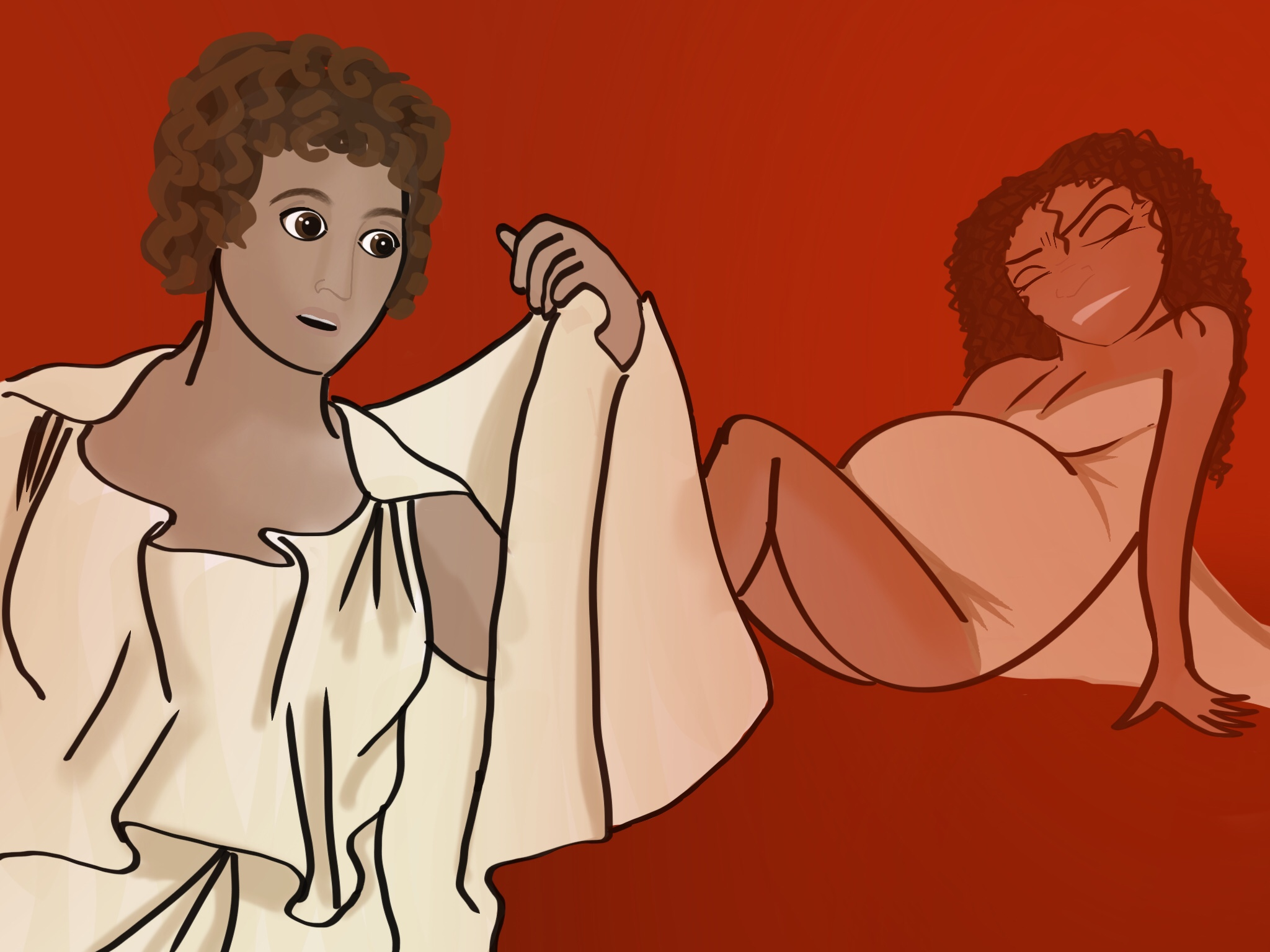 An illustration of Agnodice treating one of her patients. Agnodice is on the left, and is in the process of removing a layer of clothing, the female figure on the right is in labour.
