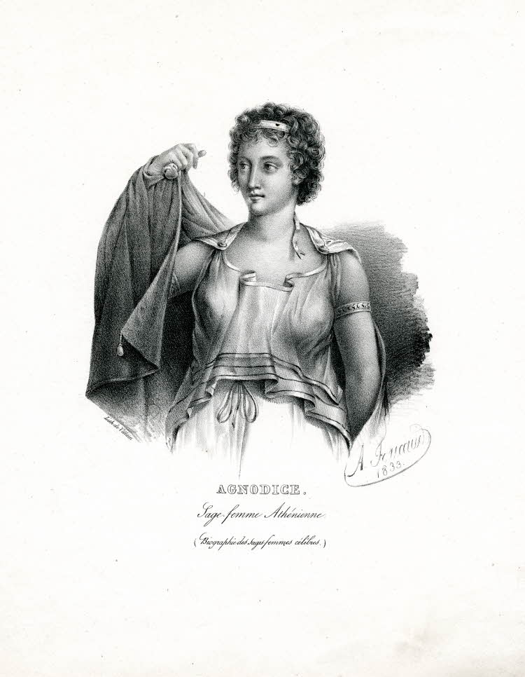 19th century illustration of Agnodice showing her removing a layer of clothing.